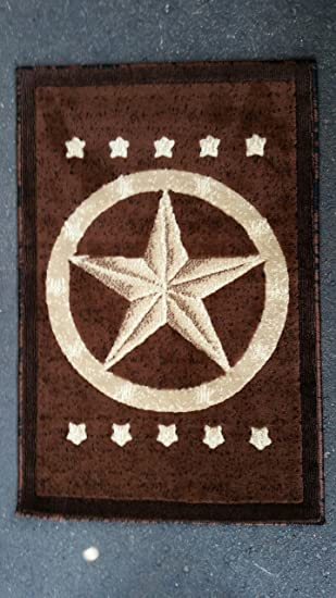 Texas Star Door Mat Area Rug Dark Brown Design #5457 (2ft.x3ft.