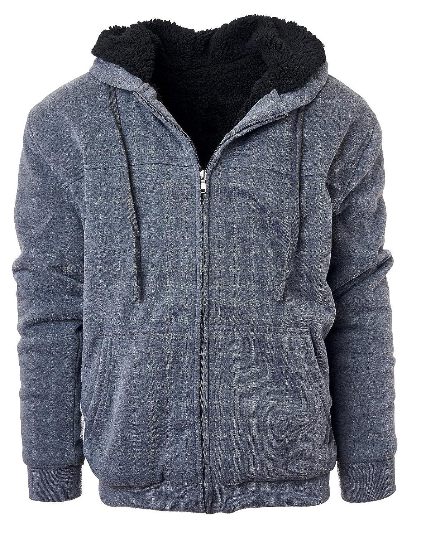 Glamsia Fresh Groove Heavyweight Sherpa Lined Full Zip Men's Fleece Hoodie