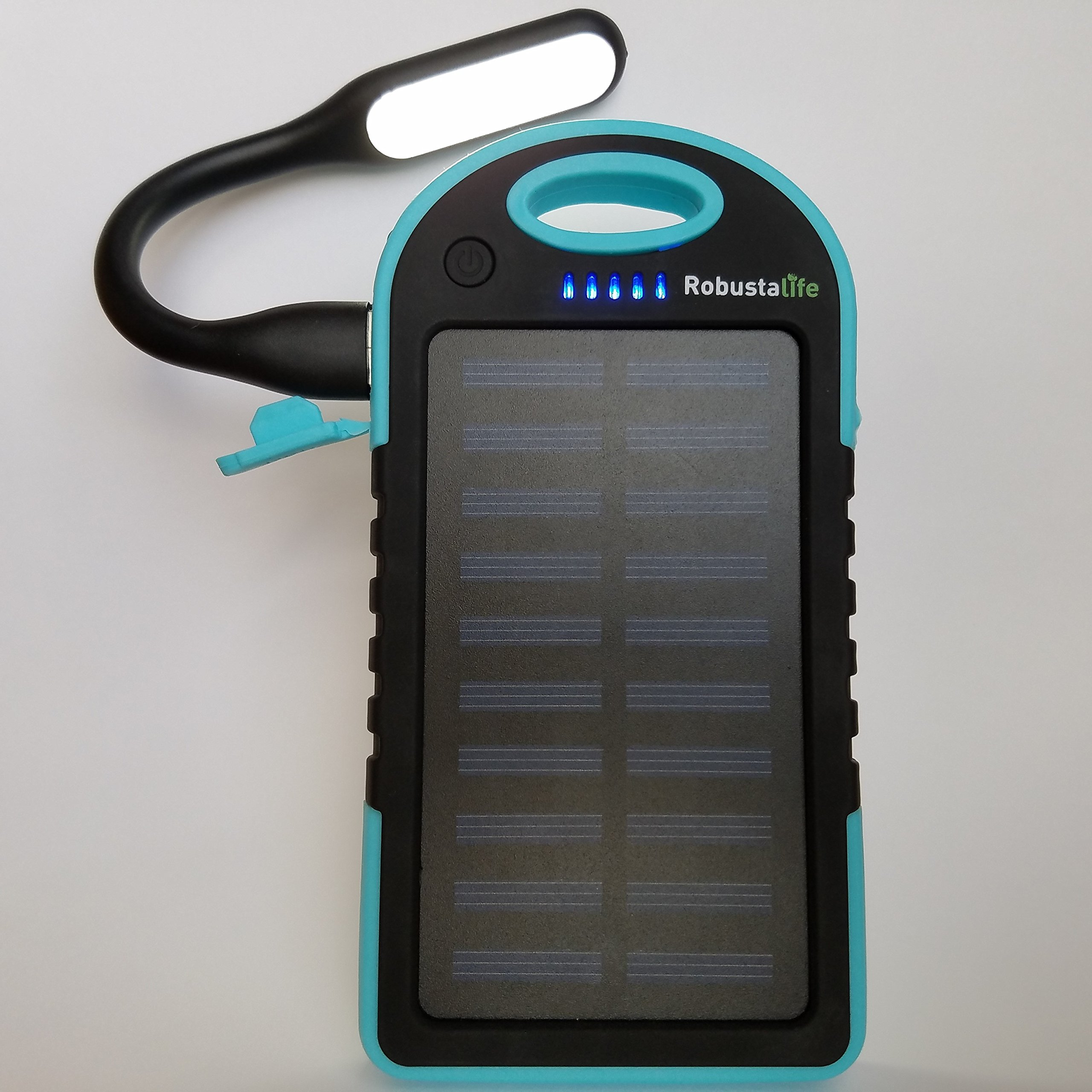 5000 mAh Solar Power Bank By Robustalife – Portable, Waterproof, Shockproof & Dustproof Cell Phone Battery Charger For iPhone, Samsung, Android Smartphones, USB Cameras – 5 LED Status Lights (Blue)