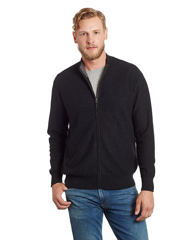 Invisible World Men's 100% Cashmere Herringbone Zippered Cardigan