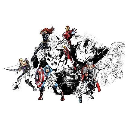 Thedecofactory Stickers Marvel Avengers Assemble Noir Blanc Geant