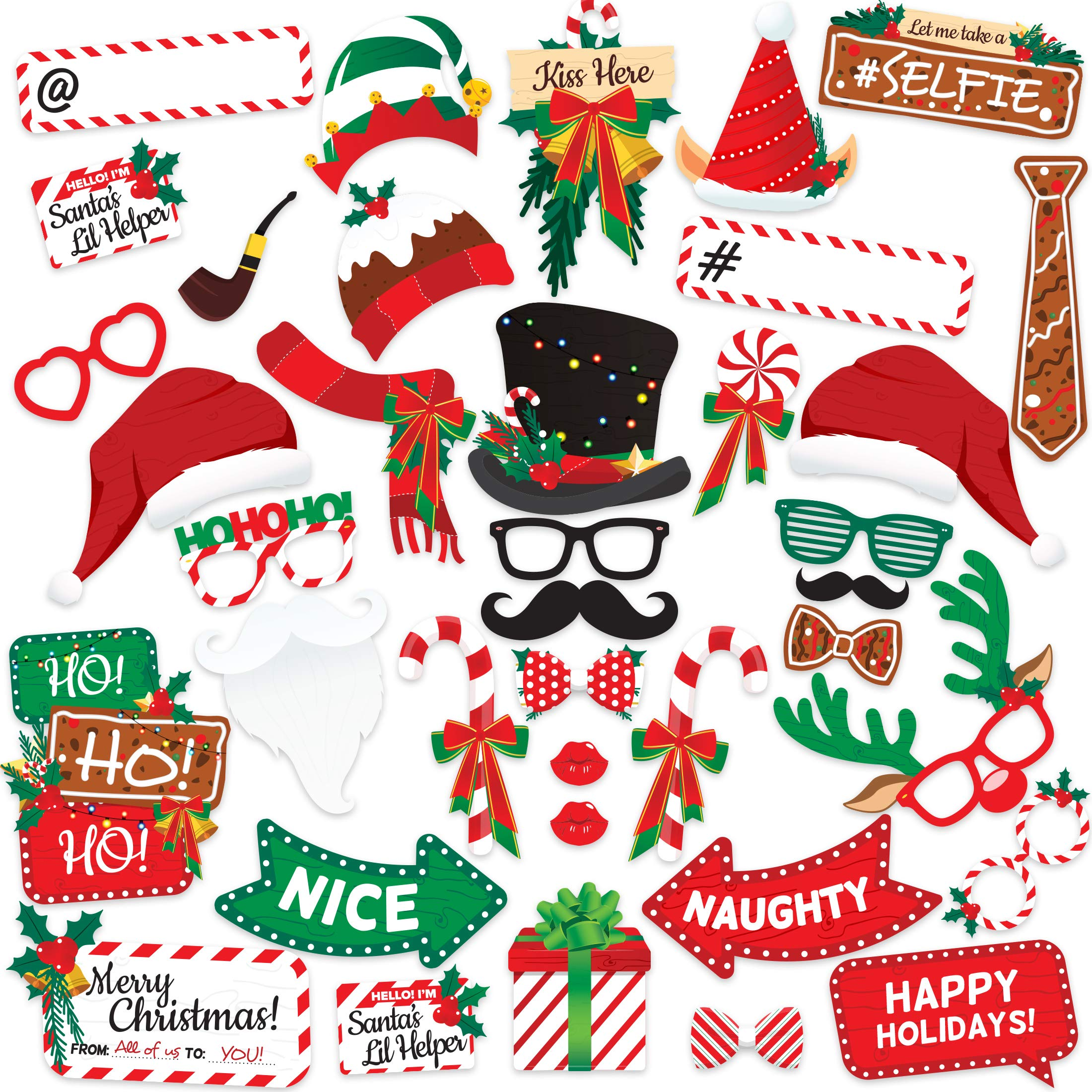 CDM product Christmas Party (38 Piece) Photo Booth Props Kit for Pictures – Artist Rendered Xmas Supplies Set – Backdrop Decoration Décor – Variety Favors & Games For Kids and Adults big image