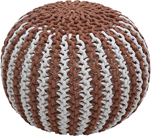 Hand Knit Pure Cotton Stuffed Pouf