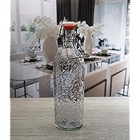 Circleware 05330 - Jarra de vidrio para botella de cerveza o agua con tapa de cierre fácil de alambre, dispensador de cocina para aceite, vinagre y bebidas, 1 unidad Sonora-38 oz