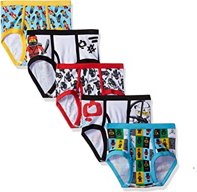 NEW Boys The Lego Movie 5 Pack  Assorted Combed Cotton Brief Underwear Size 8