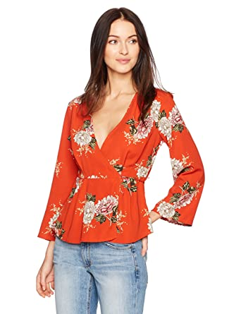 610a8d5958861c ASTR the label Women's WRAP Front Long Sleeve Floral Print TOP, red/Multi,