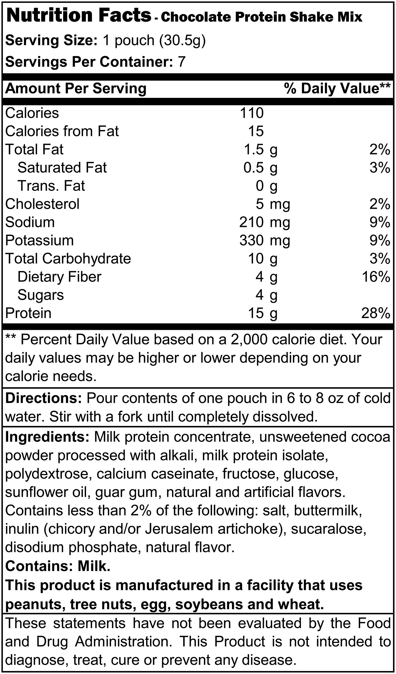 Proti Diet Shake (7 pouches per box) Net Wt 7.5oz (213g) (Chocolate) by Protidiet