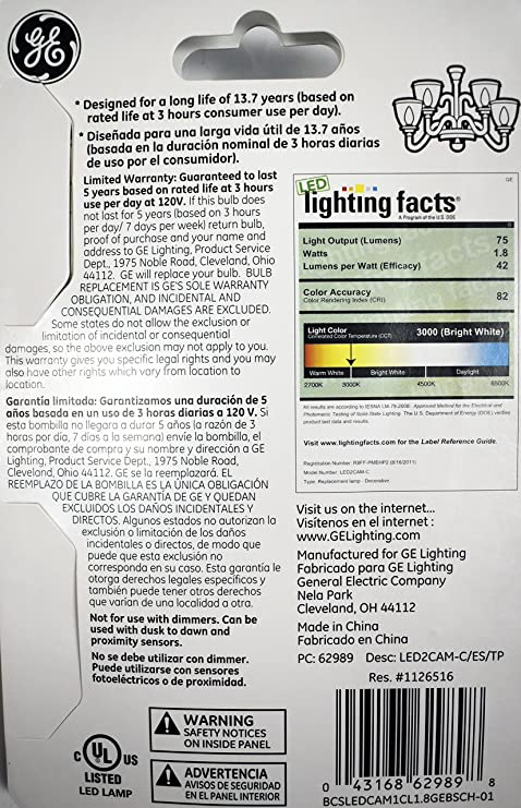 GE Lighting 62989 1.8-Watt Clear LED Candle-Shape Light Bulb, Medium Base (3 Pack) - - Amazon.com