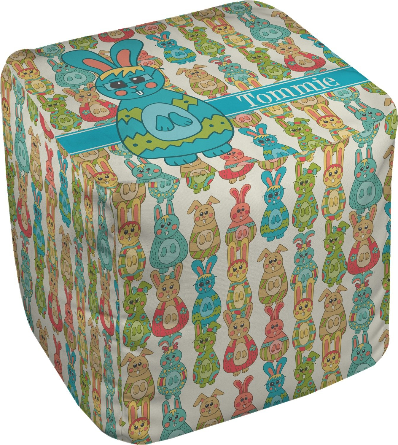 RNK Shops Fun Easter Bunnies Cube Pouf Ottoman - 13'' (Personalized)