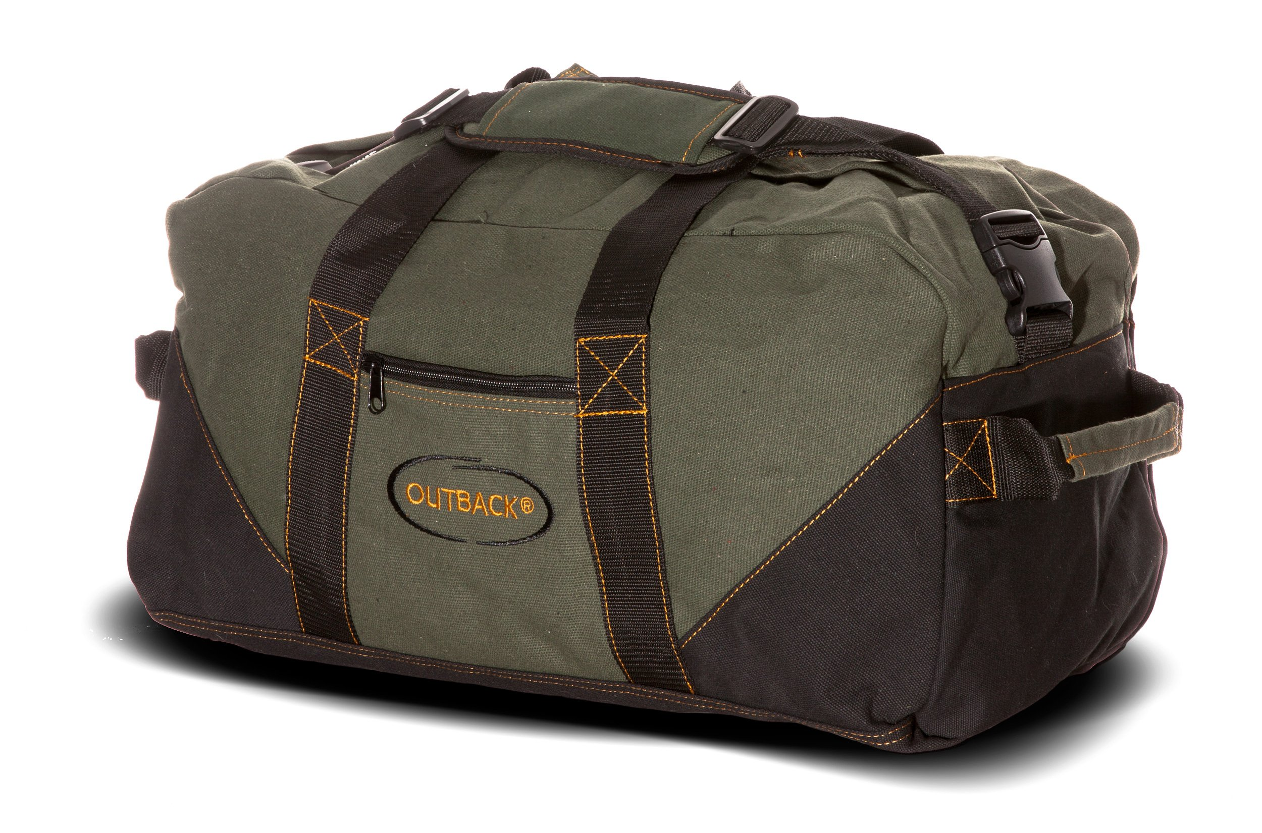 Ledmark Heavyweight Cotton Canvas Outback Gym Bag, Black/Green, 24'' x 16''
