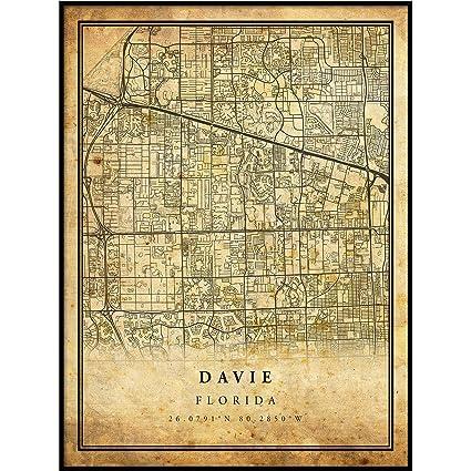 Amazon.com: Davie map Vintage Style Poster Print | Old City Artwork on