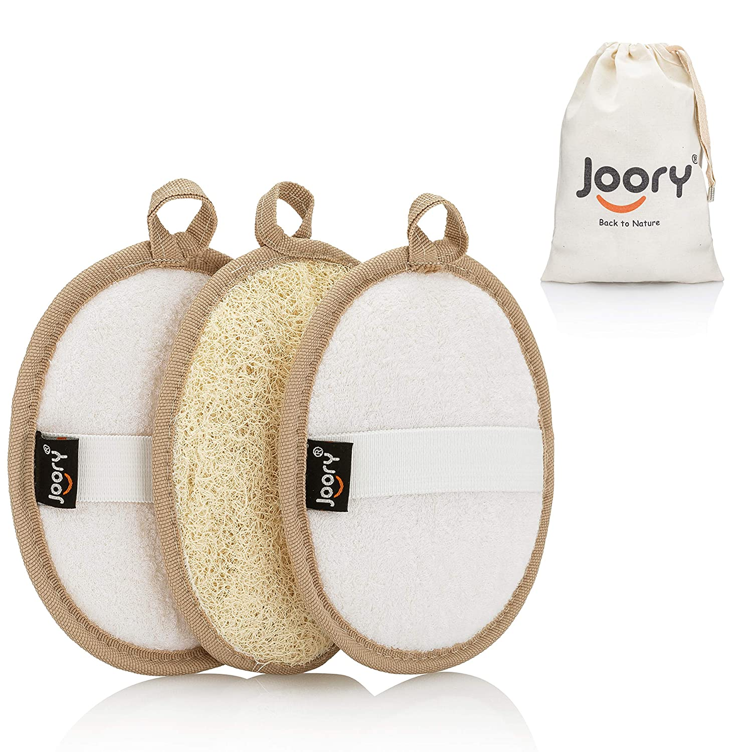 Egyptian Natural Loofah Exfoliating Body Scrubber 3-Pack – Shower Sponges for Men and Women – Eco-Friendly Oval Bath and Body Exfoliators with Palm Straps, Cotton Backing Pads and Linen Carry Bag: Beauty