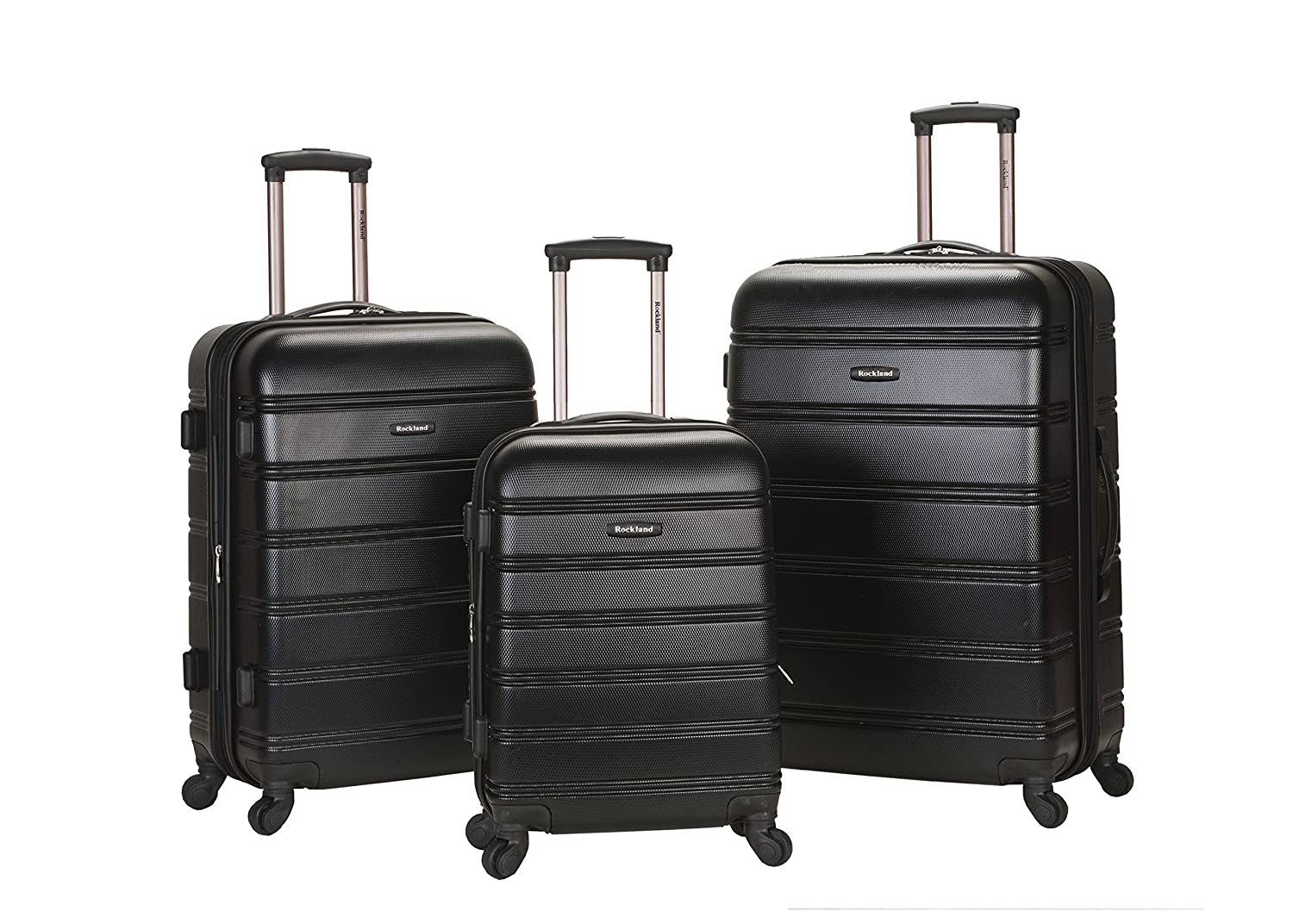 Amazon.com | Rockland Luggage Melbourne 3 Piece Set, Black, Medium ...