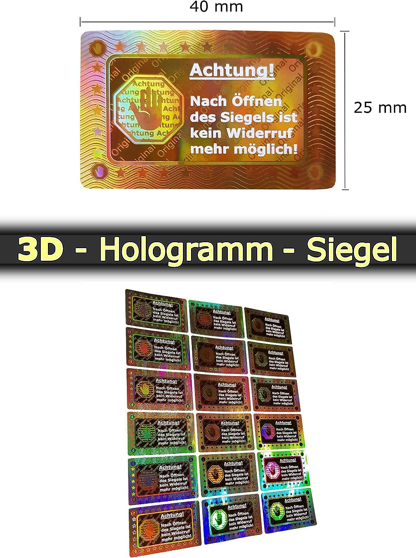 Qualit/ätssiegel Security Label Sticker Aufkleber Garantiesiegel Sicherheitssiegel 500 3D Hologramm-Siegel 40*25mm gold gl/änzend Sicherheitsetiketten selbstklebendes Etikett R/ücknahmesiegel