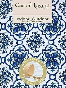 Newbridge Blue Amani Tile Print Indoor/Outdoor Fabric Tablecloth - Delft Blue Medallion Design Soil Resistant, Water Repellent Fabric Tablecloth. 60 Inch X 84 Inch Oblong/Rectangular