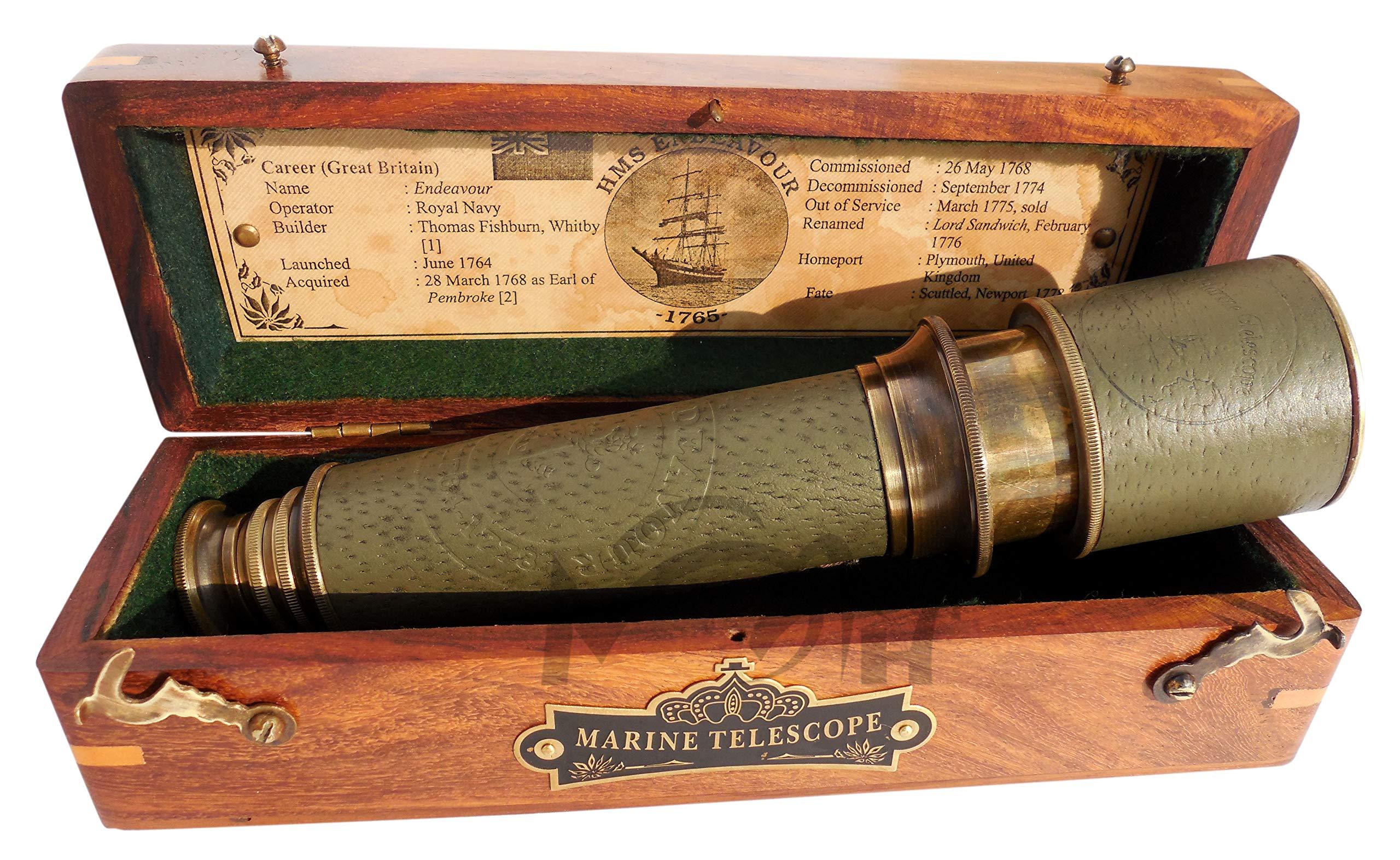 MAH 18 Inch Brass Ship Captain Telescope/Brass Spyglass with Hardwood Box. C-3261