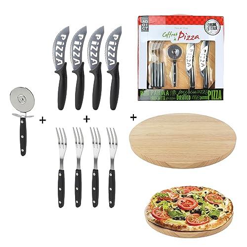Totally Addict KDO8585 Coffret à Pizza Bois/INOX Noir 30 x 30 x 1,60 cm