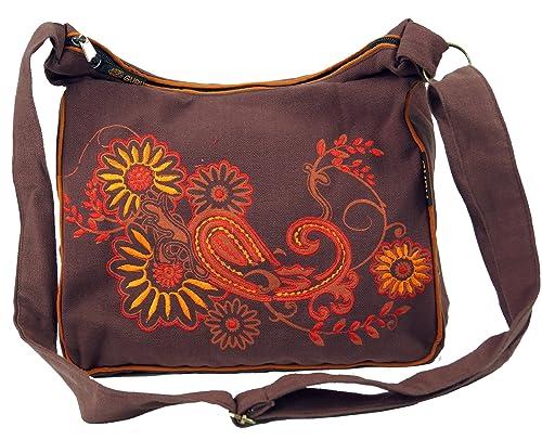 Guru Shop Schultertasche, Hippie Tasche, Goa Tasche Grün, HerrenDamen, Baumwolle, 23x28x12 cm, Alternative Umhängetasche, Handtasche aus Stoff
