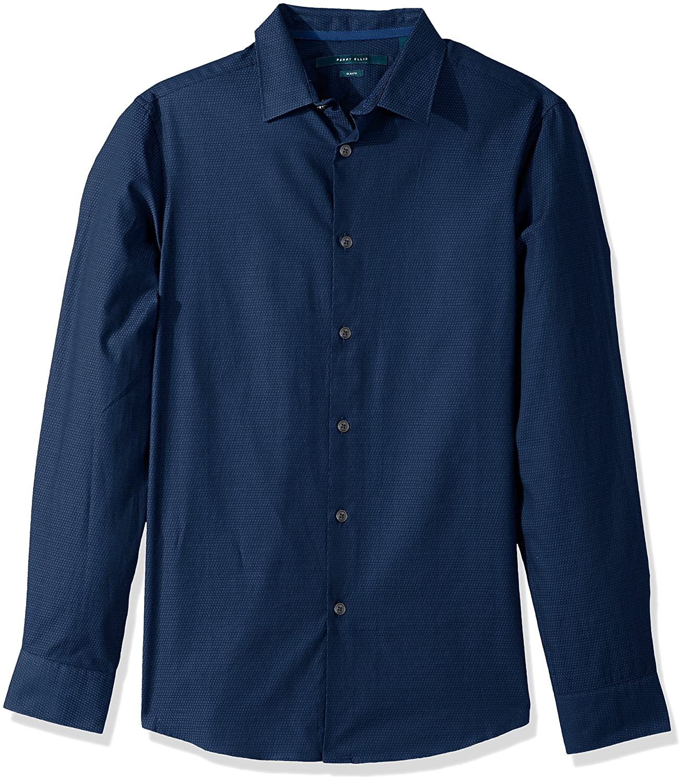 Perry Ellis Long Sleeve Solid Jacquard Shirt-Mens