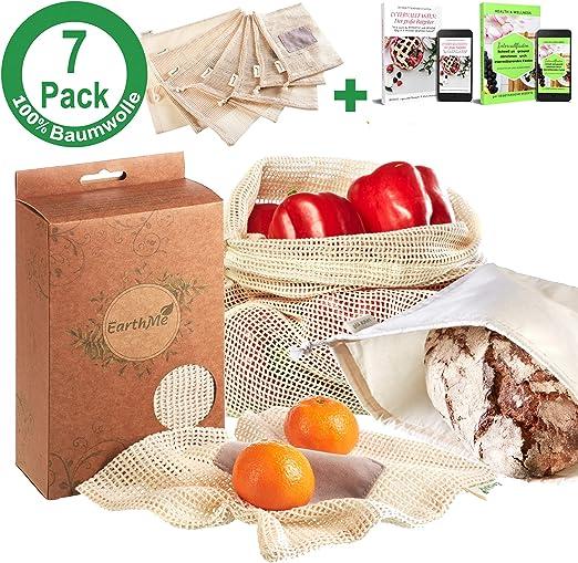 Set de 7 bolsas de fruta 100% algodón Bolsa de verdura Bolsa de fruta Red de fruta Malla de verdura Incl. bolsa de pan XL + 2 e-books: Amazon.es: Hogar