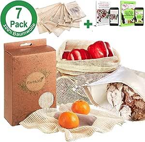Set de 7 bolsas de fruta 100% algodón Bolsa de verdura Bolsa de ...