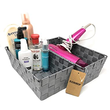 ECOHIP 2-Pack Grey Woven Strap Baskets Storage Bins Bathroom Makeup Desk Organizer Cubes