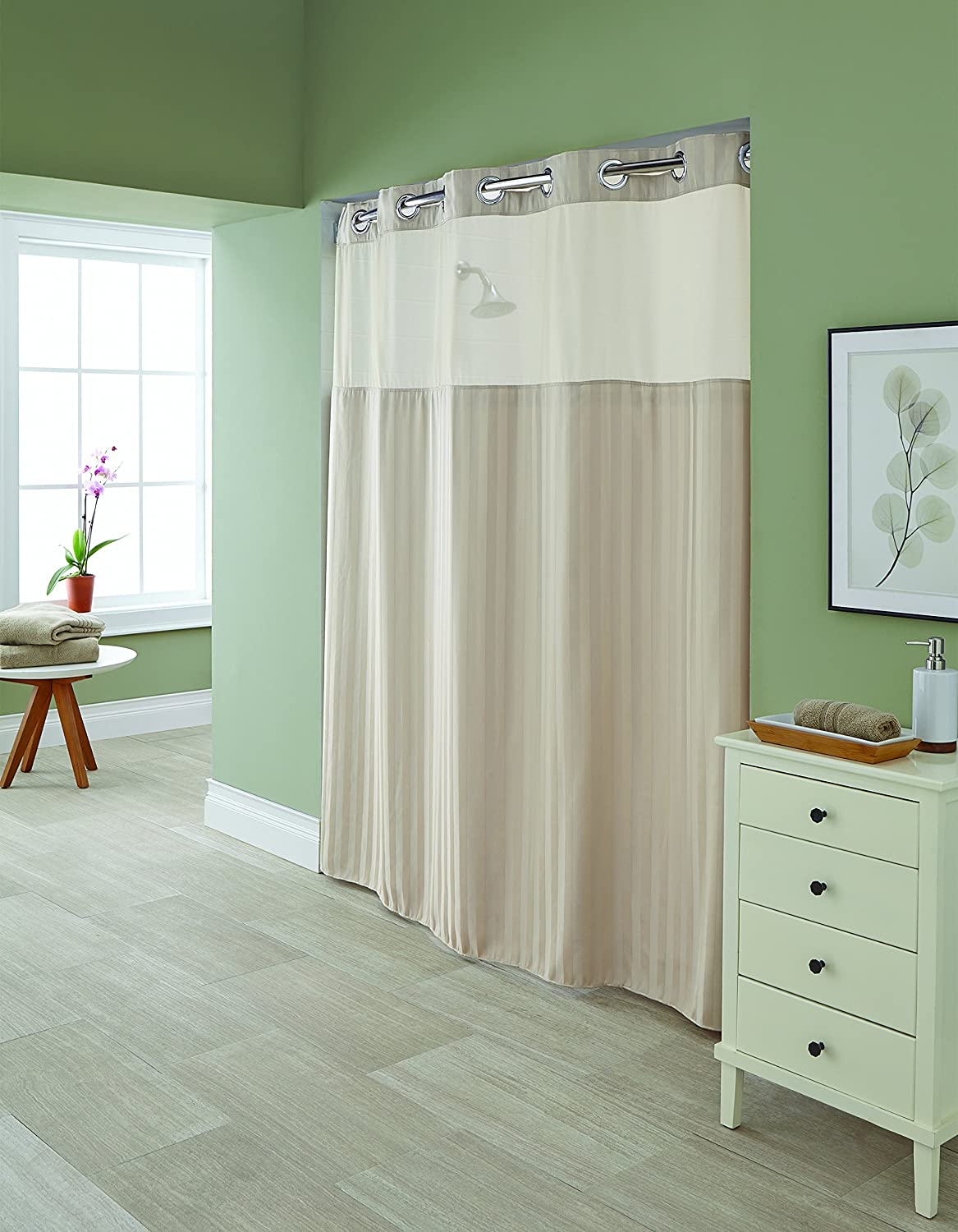 Hookless shower curtain with snap liner - Amazon Com Hookless Rbh94my983 Park Avenue Stripe Taupe Shower Curtain With Snap In Peva Liner Home Kitchen