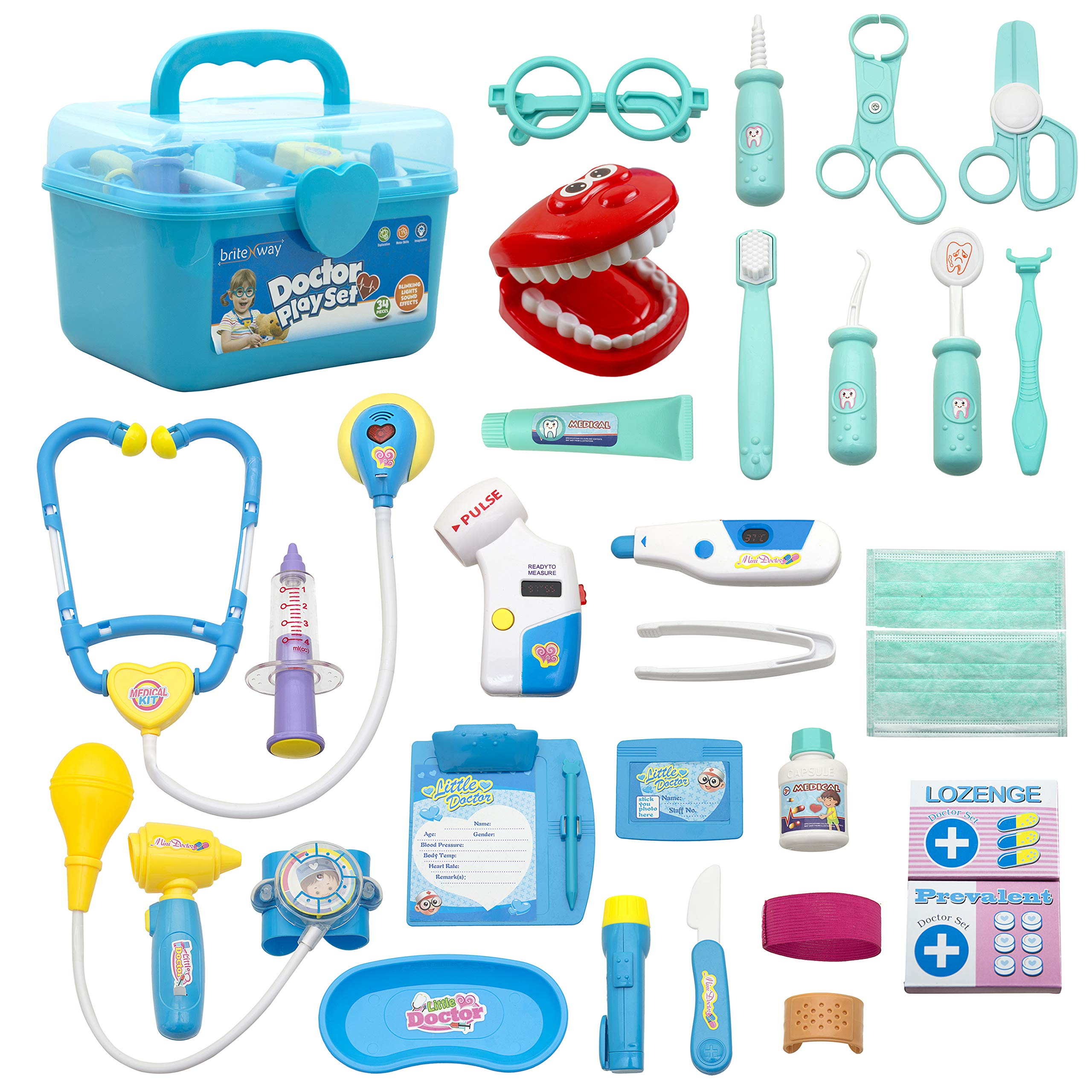 BRITENWAY Educational Doctor Medical Pretend Play Toy Set in Storage Box 34 Pcs - Battery Operated Tools with Lights & Sounds - Promote Learning, Hand to Eye Coordination, Fine Motor Skills by BRITENWAY (Image #9)