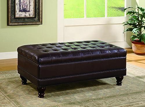 Oversized Faux Leather Storage Ottoman Dark Brown