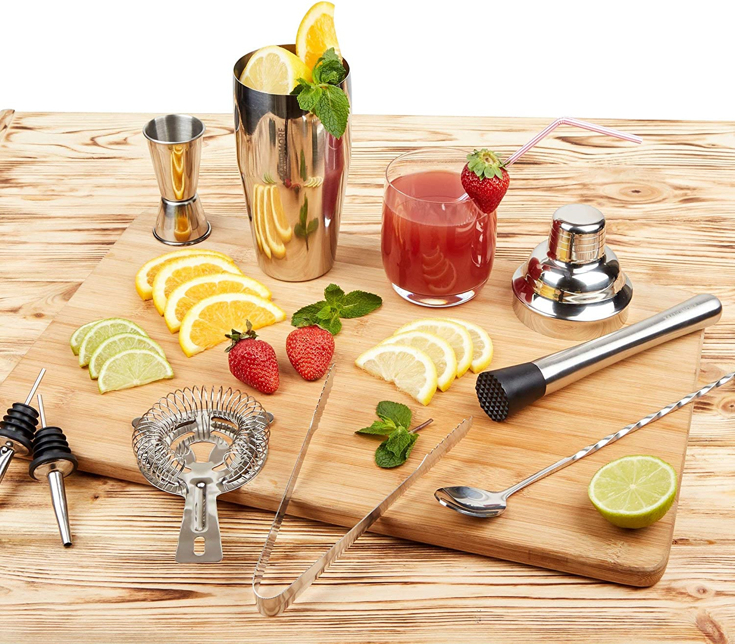Luxury Bar Set with Wooden Stand Organized Mixology Kit to Prepare Cocktails ay Home Gradient Color Bartender Kit