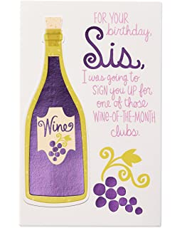 Funny Wine Birthday Card For Sister With Foil