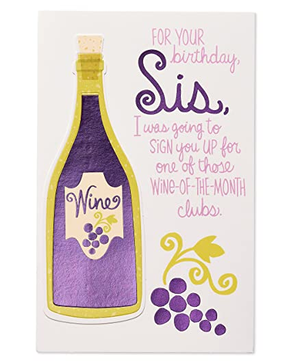 Amazon Funny Wine Birthday Card For Sister With Foil Office