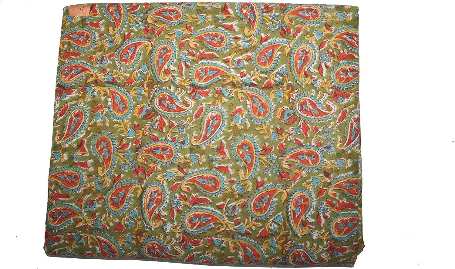 Indian 100/% Cotton Fabric Natural Dyed Hand Printed Block Handmade Floral Print