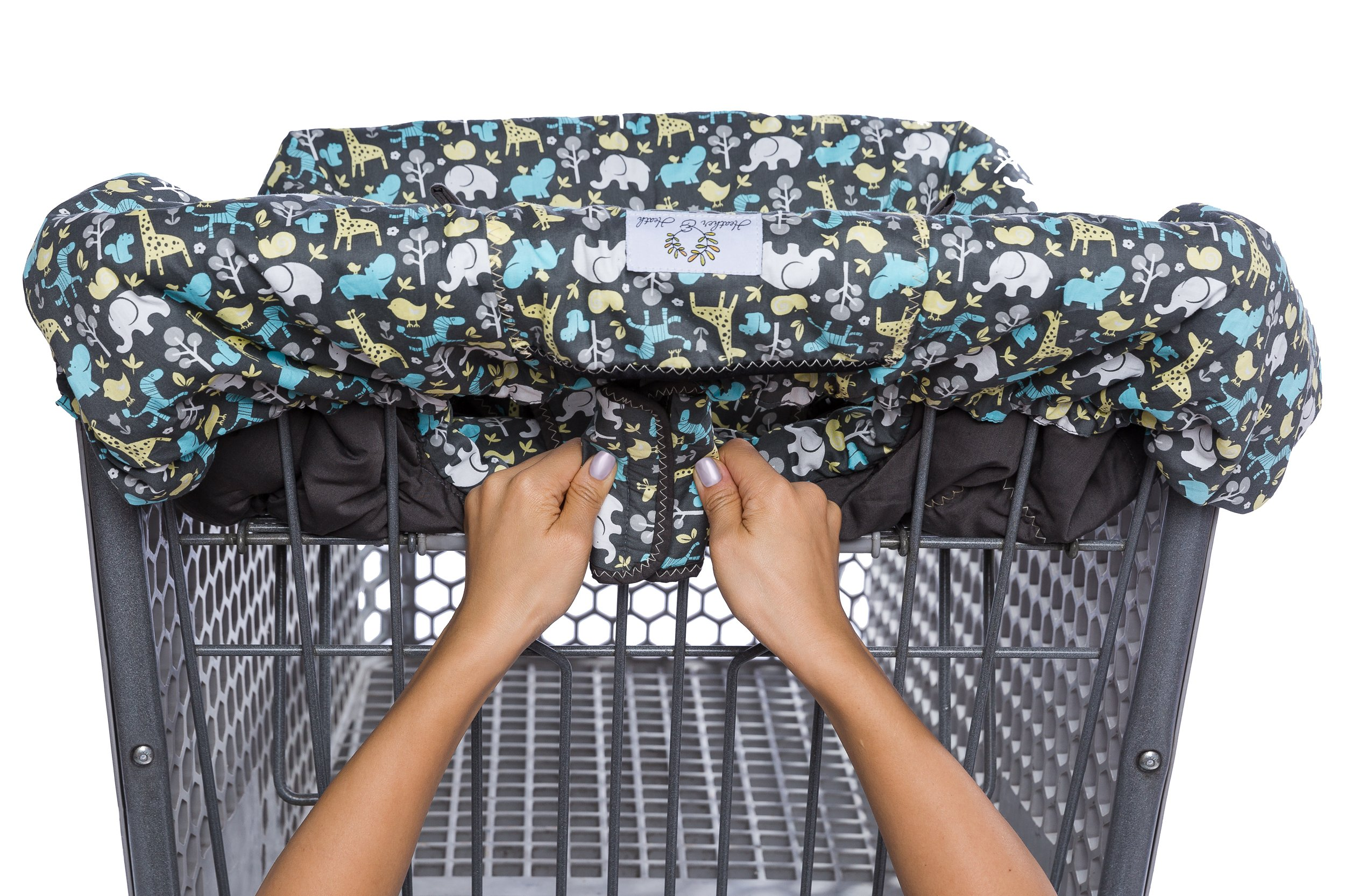 2-in-1 Shopping Cart Cover and High Chair Cover, Universal Fit, Ultra Plush, 100 Percent Cotton Upper, Full Safety Harness, Machine Washable for Baby, Toddler, Boy or Girl (Grey) by Heather and Heath Kids (Image #2)
