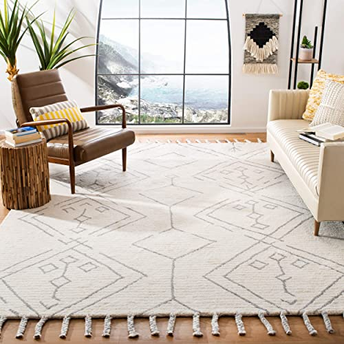 Safavieh CSB201G-8 Casablanca Collection CSB201G Hand Knotted Ivory and Silver Premium Wool Area 8' x 10' Rug