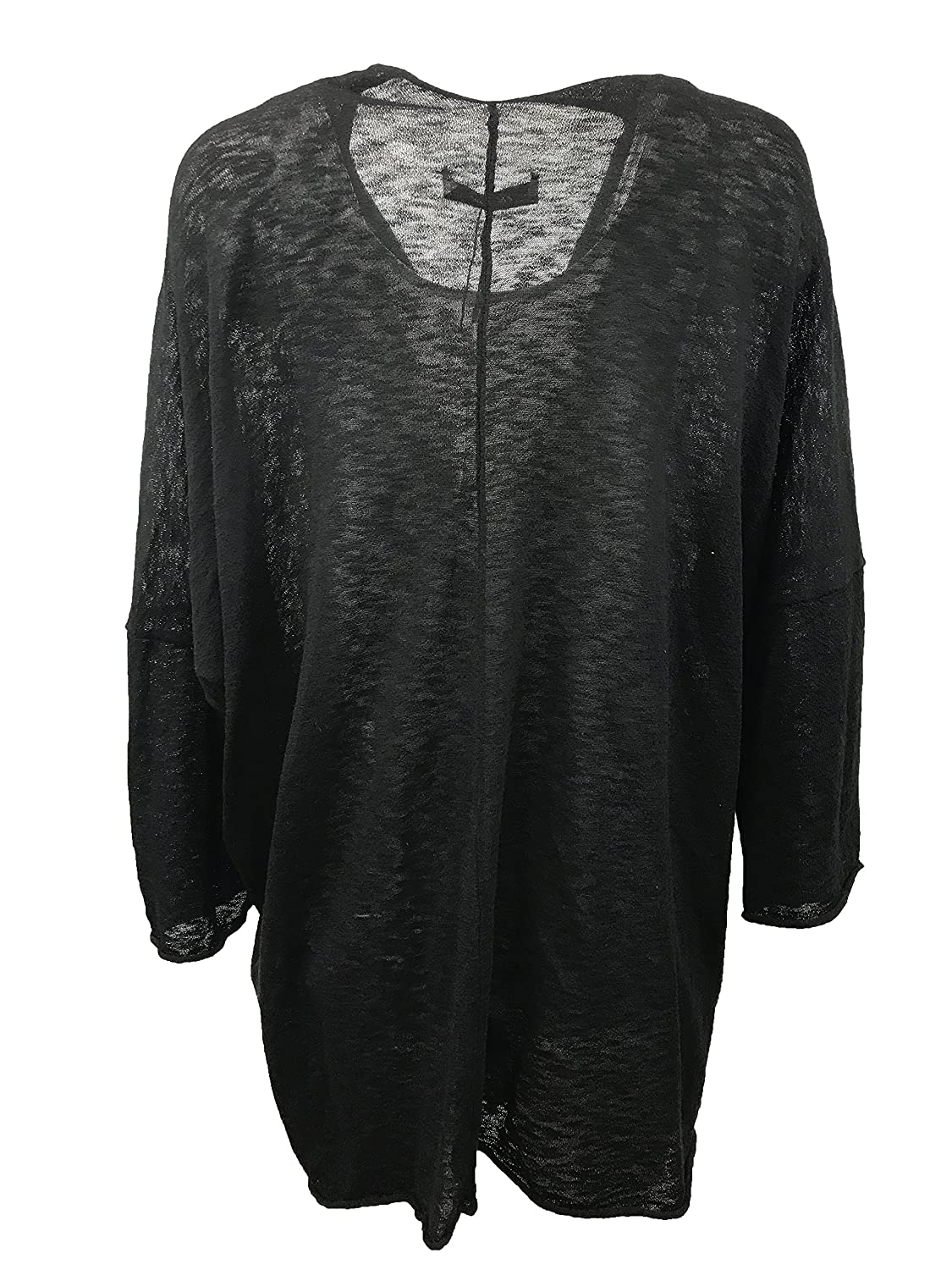 5ba39c5d Zara Knitwear Collection Women's Open Front High Low Cozy Cardigan, Black,  L at Amazon Women's Clothing store:
