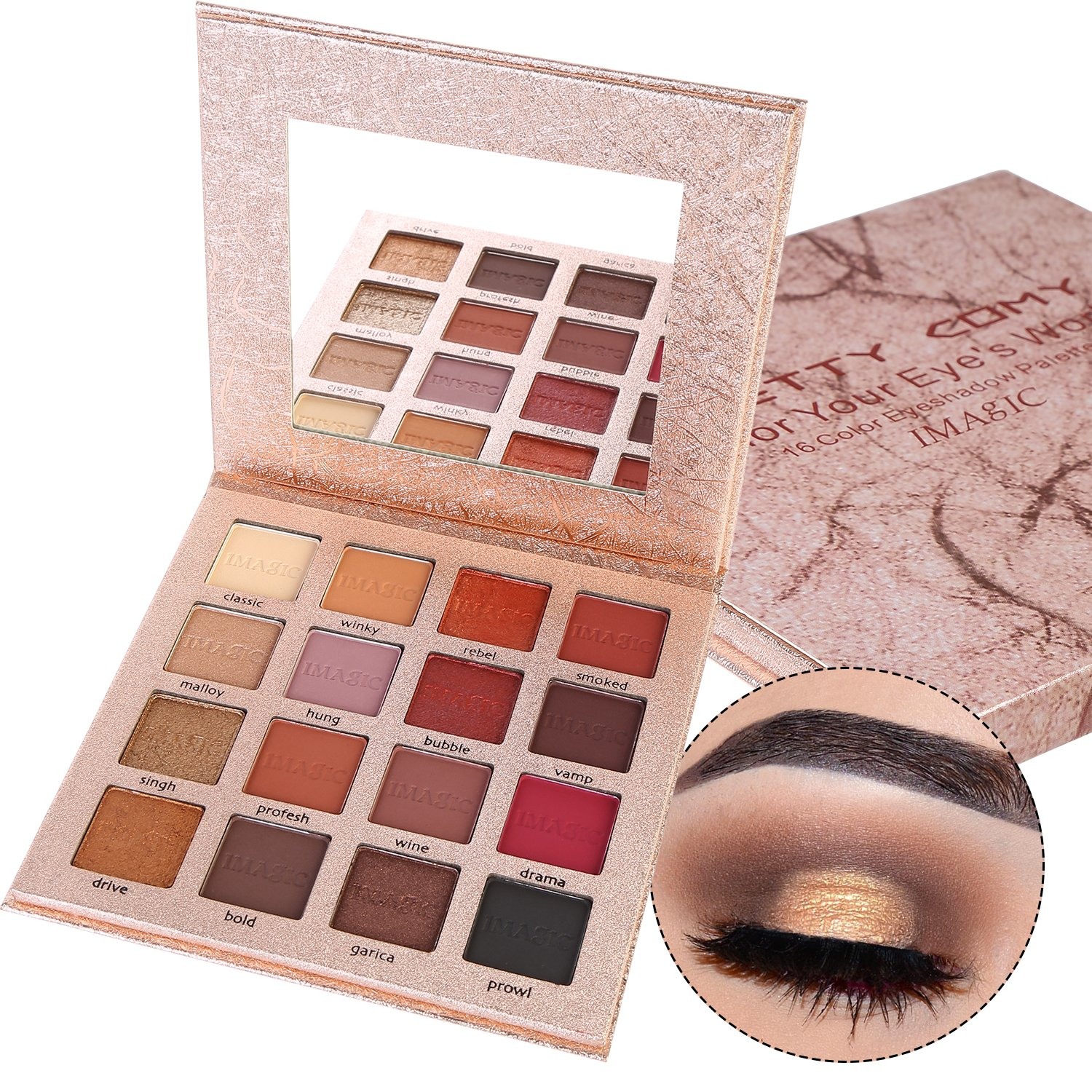 16 Colors Eyeshadow Palette Glitter and Matte Shimmer Waterproof Durable Pigmented Eye Shadow Powder Makeup Pretty Comy