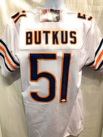9961b4622fc Dick Butkus Chicago Bears Signed Autograph White Custom Jersey JSA  Wintessed Certified