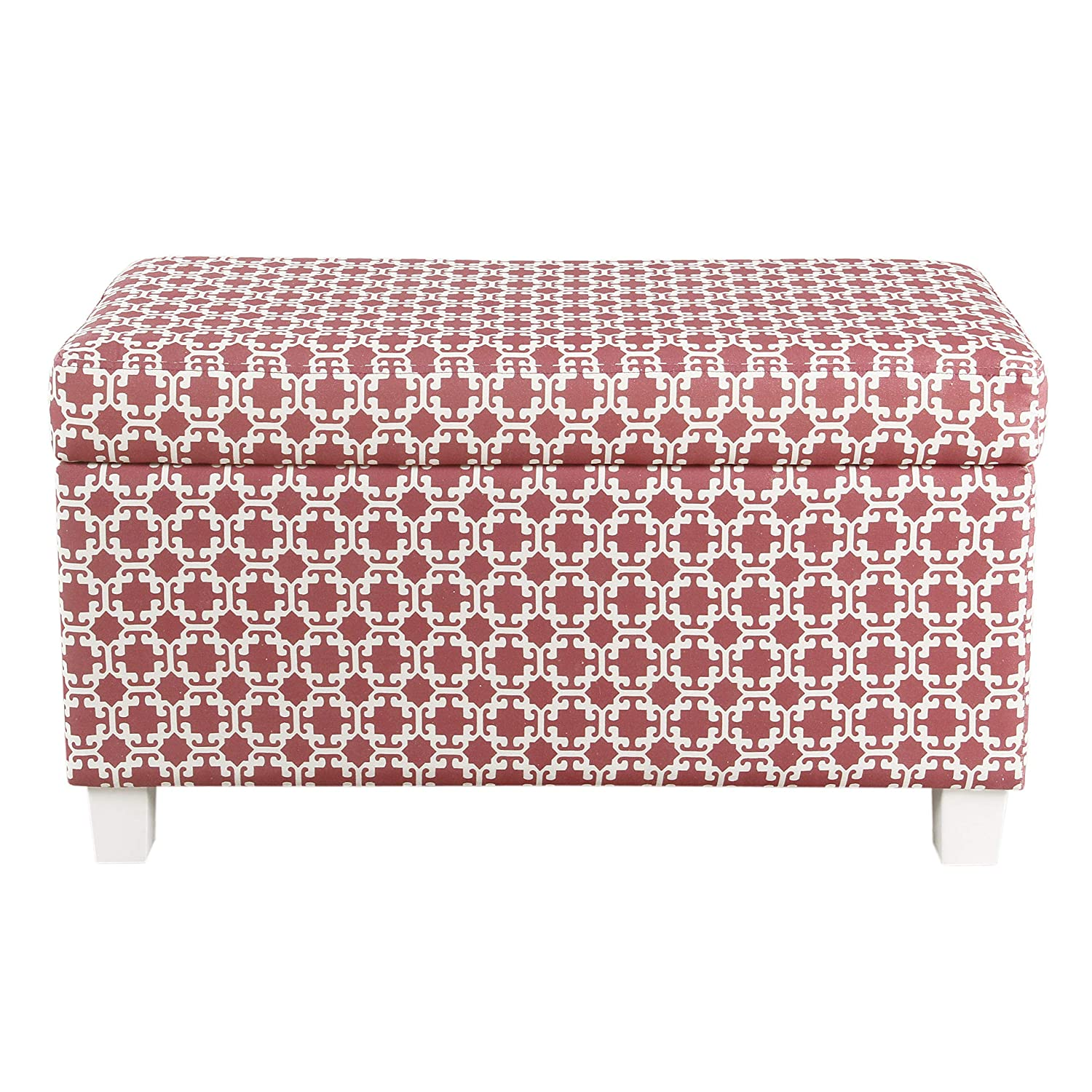HomePop Youth Upholstered Storage Bench with Hinged Lid, Pink and White Lattice