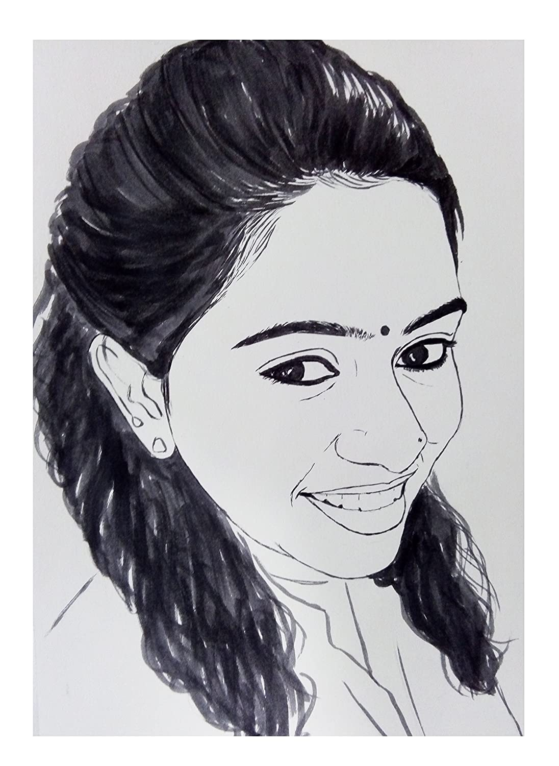Big indian arts portrait caricature drawing hand made black and white sketch amazon in home kitchen