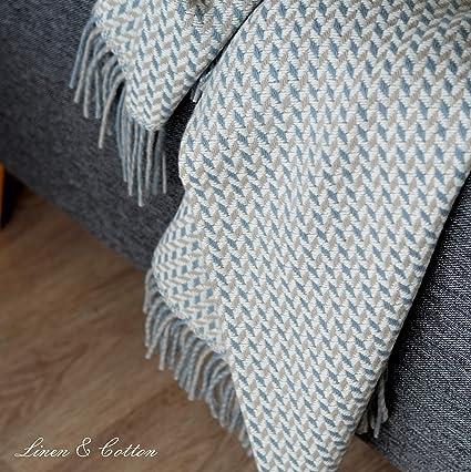 Linen & Cotton Manta Plaid de Sofá/Cama Valencia - 100% Lana ...