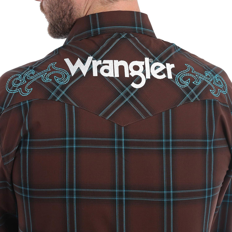 Wrangler Mens Big and Tall Logo Long Sleeve Snap Shirt MP1315M Brown//Blue