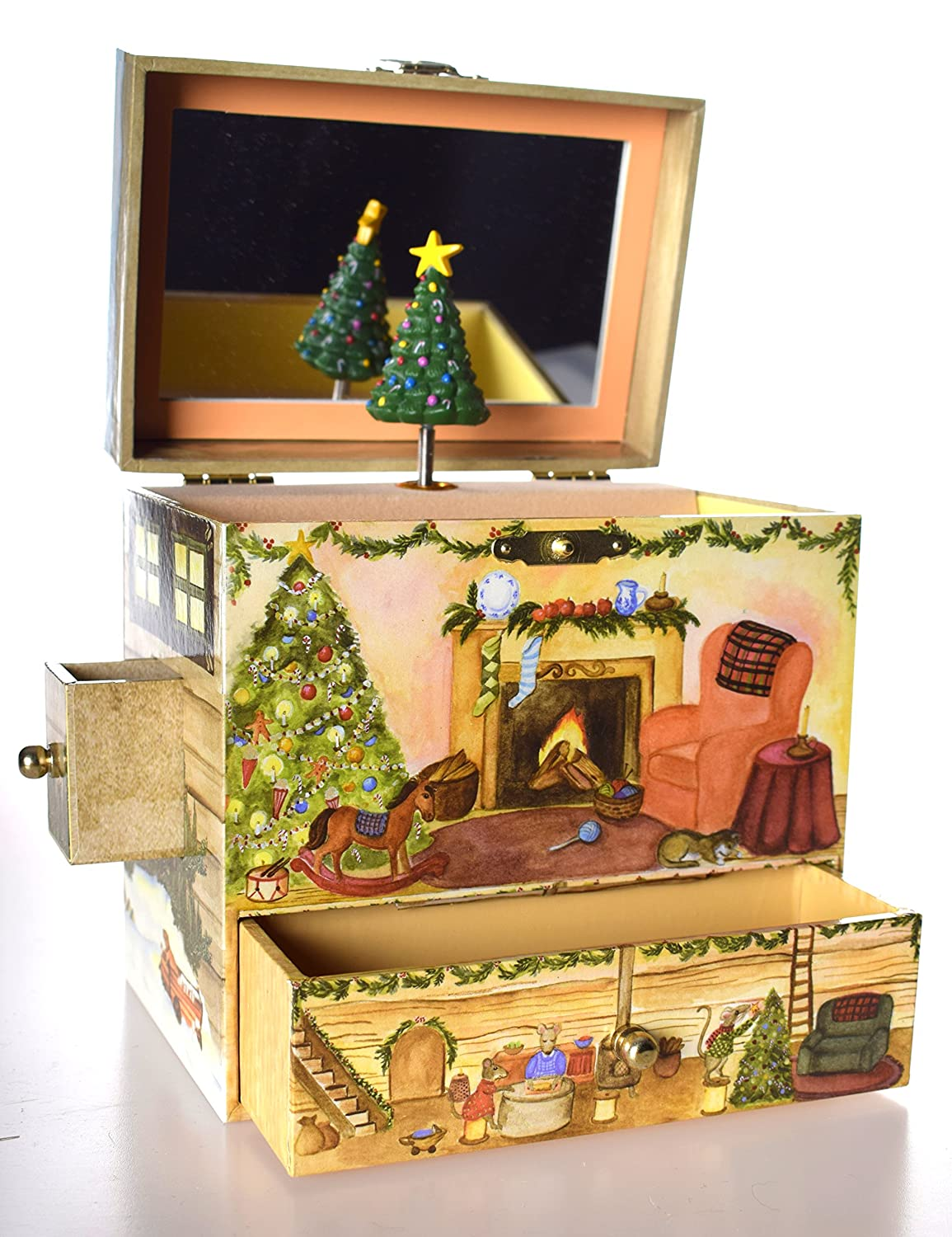(B2001) Wooden Christmas Tree Design Musical/Jewellery Box Gift For Girls/Mum/Mummy/Nanny/Nan Cr8 A Gift
