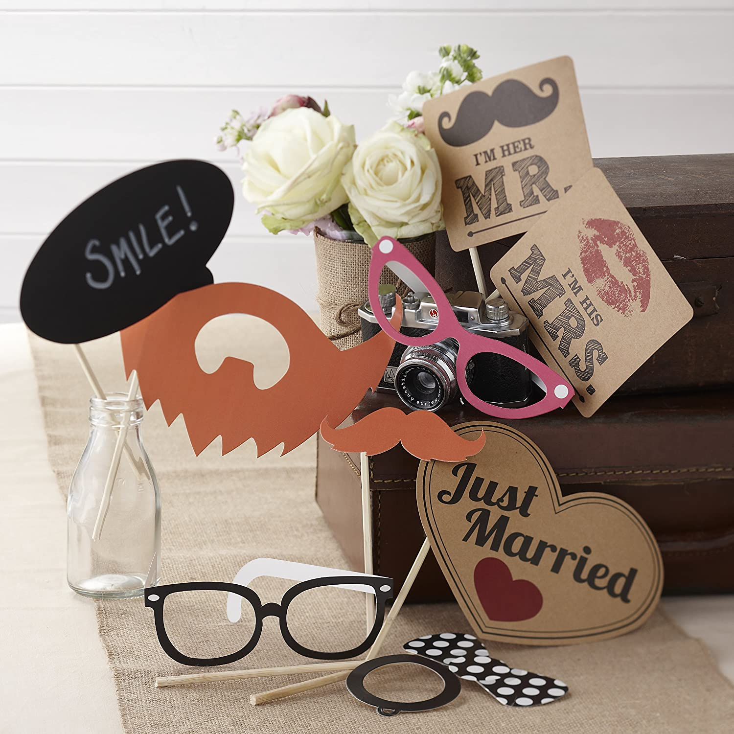 Amazon Ginger Ray Photo Booth Vintage Style Wedding Mr Mrs Party Props Kit Mixed Decorations Kitchen Dining