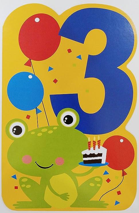 Amazon.com: Happy 3rd Tarjeta de felicitación de cumpleaños ...