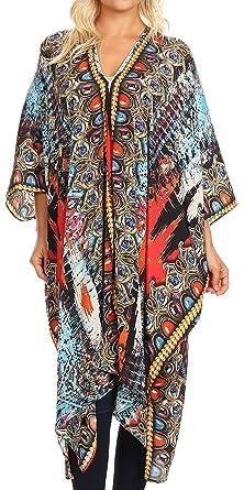 e9288acf3d05c Sakkas 1824 - Alvita Women's V Neck Beach Dress Top Caftan Cover up with  Rhinestones -