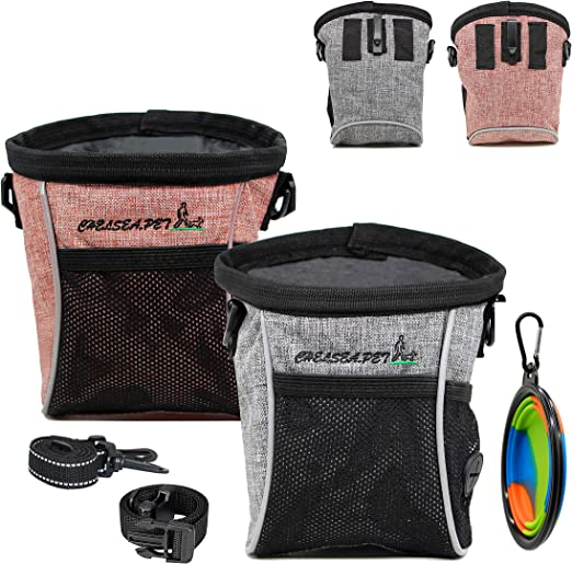 2 Pack Dog Treat Training Pouch,Puppy Treat Bag with Waist Belt Shoulder Strap Waist Clip Collapsible Dog Bowl,Three Wearing Methods, Easy to Carry - Pet Snacks, Dog Toys, Personal Belongings