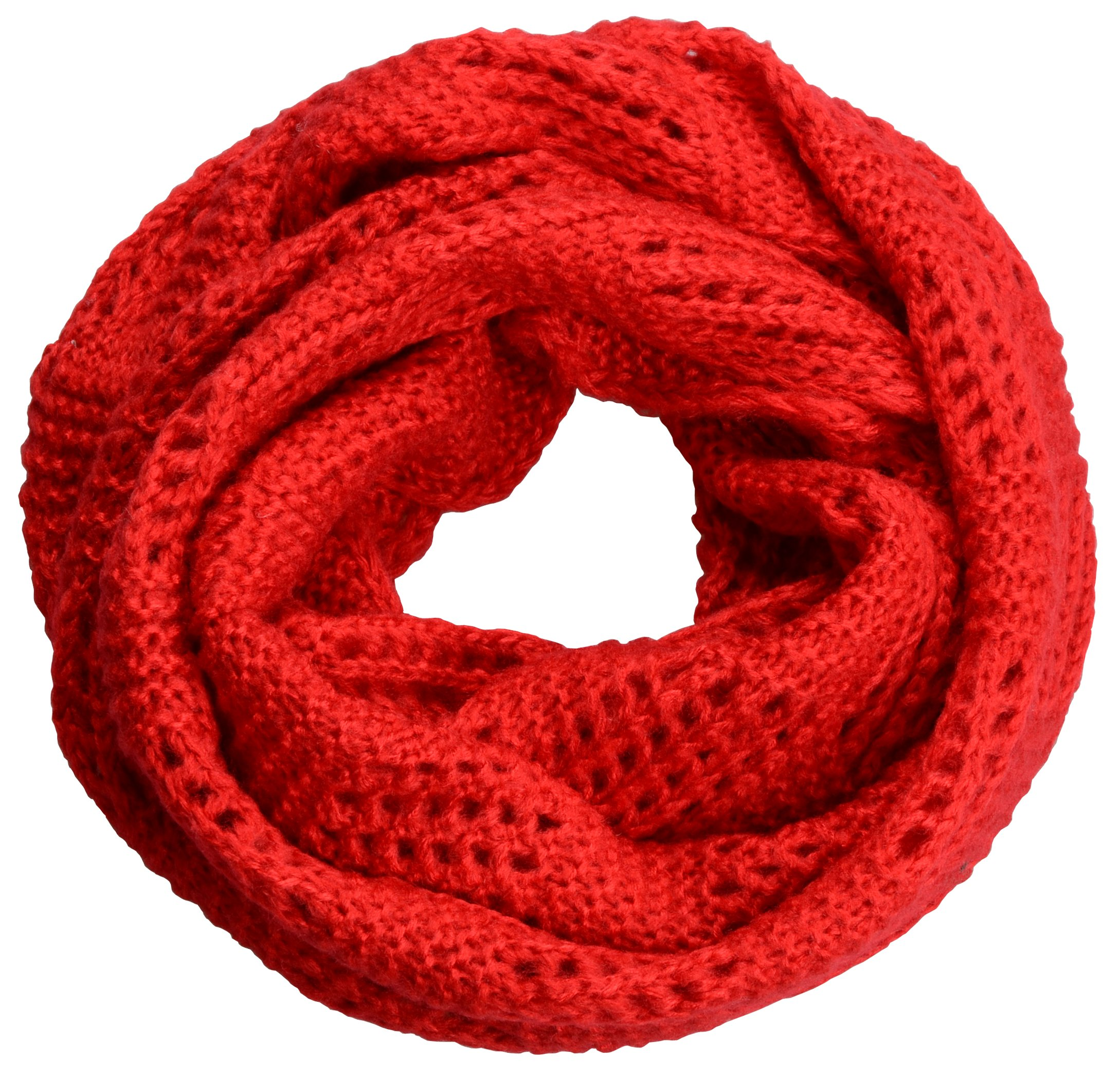 NEOSAN Women Warm Chunky Ribbed Knit Winter Infinity Loop Scarf Plaid Red