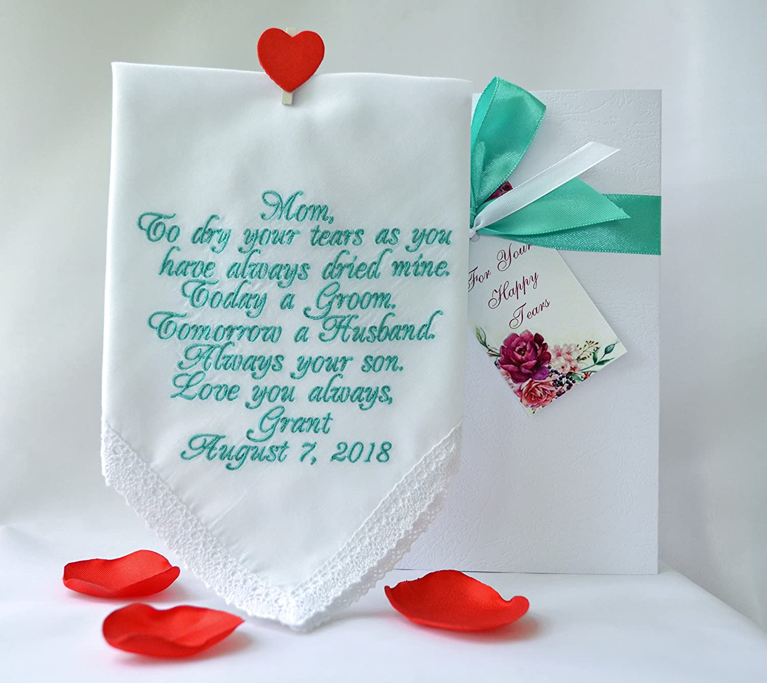 Wedding gift for Mom from son Mother of the Groom handkerchief Wedding keepsake Personalized hankies Embroidered hankie Wedding favours Custom hankies Mother son gift