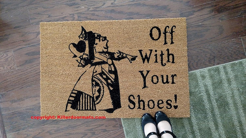 Off With Your Shoes! Queen of Hearts Alice in Wonderland Custom Handpainted Funny Fandom Welcome Doormat by Killer Doormats, Large Only